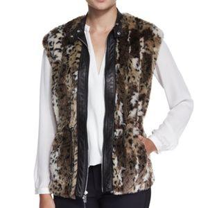 Rebecca Taylor Faux Fur Leather Leopard Vest NEW!